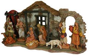 9 piece fontanini christmas nativity scene figure stable complete set