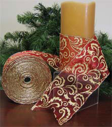 Size 100 Sheer Pizzaz Red and Gold Holiday Ribbon With 50 Yards