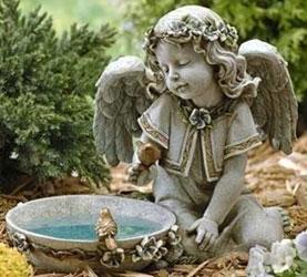 Buy A Solar Powered Bird Bath Angel Figure Online