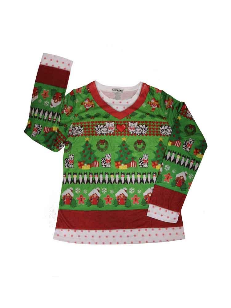 5dca34ea37d0ba Women's Ugly Christmas Sweater Cats