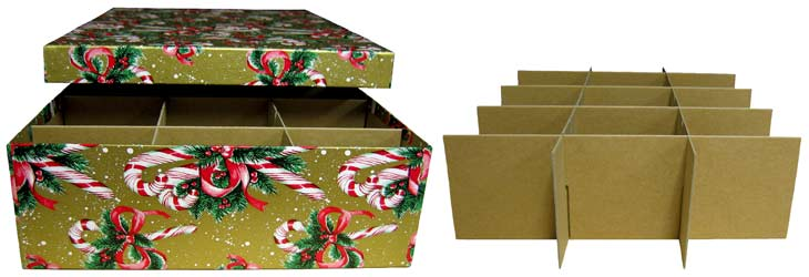 single layer candy cane christmas ornament storage box - Christmas Decoration Storage Box