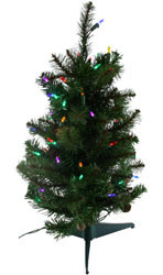 2 Foot Multi LED Lighted Sherwood Forest Table Top Artificial Christmas Trees For Sale