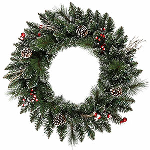 "24"" Snow Tipped Berry Pine Artificial Wreath Christmas Decorations For Sale Now!"