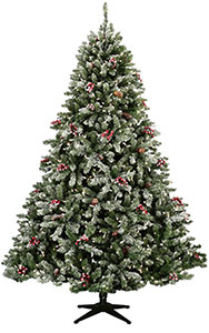 7.5 Foot Hawthorne Fir Designer Frosted Flocked Artificial Christmas Tree On Sale Now!