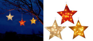 Large Hanging Illuminated Fiberglass Star Christmas Lights Set For Outdoors