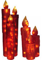 Giant Red Christmas Lights Candles Set For Outdoors