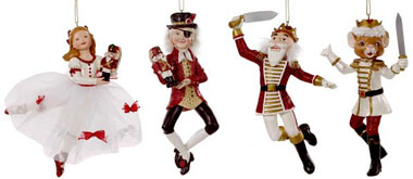 drosselmeyer nutcracker suite set of 4 christmas ornaments - Nutcracker Christmas Decorations