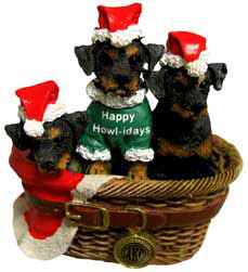 Loveable Rottweiler Puppies Sitting In A Basket Christmas Ornaments