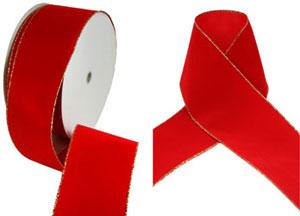Size 100 Red Velvet Christmas Ribbon With Gold Edges