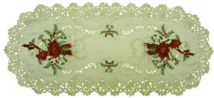 Buy Ivory With Red Poinsettia Table Runners Christmas Decorations Now