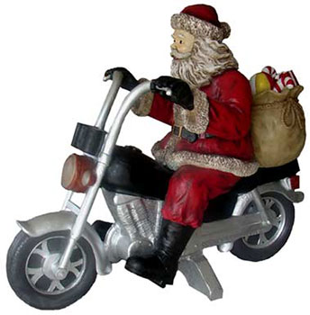 Shop Online For Santa Riding His Motorcycle Outside Christmas Decorations Now!