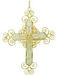 Purchase Capiz Filigree Scroll Cross Ornaments & Decorations For Christmas Trees Today Online!