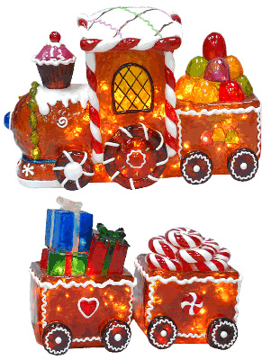 shop online for an illuminated gingerbread train christmas outdoor decoration now - Gingerbread Outdoor Christmas Decorations